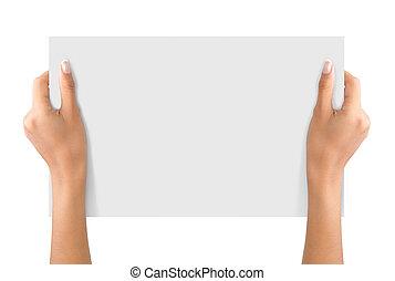 hand, greep, een papier