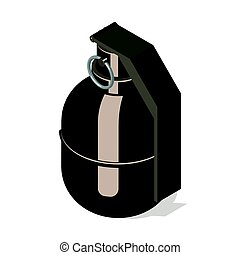 Hand grenade icon isolated on white background. Isometric...
