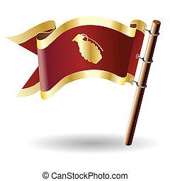 Hand grenade on royal flag