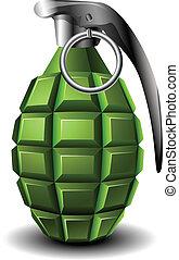 Realistic green hand grenade