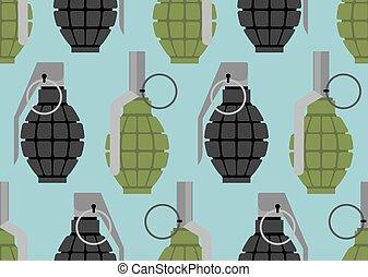 Hand grenade seamless pattern. Military munition texture. Accessory war.