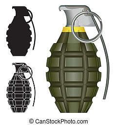 Hand grenade sketch - World War Two American pineapple hand...