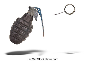Hand grenade with pin pulled floating over a white background