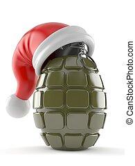 Hand grenade with santa hat