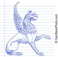 hand, griffin., tekening