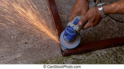 hand grinder buffing the steel - Metal buffing with hand...