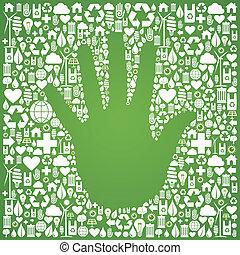hand, groene achtergrond, iconen