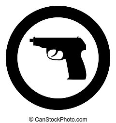 Hand gun icon black color in circle