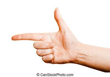 hand gun on a white background