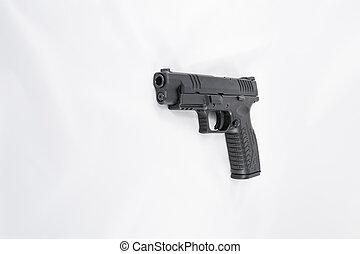 Hand gun on white background
