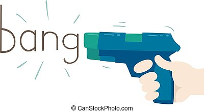 Hand Gun Onomatopoeia Sound Bang Illustration