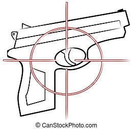 hand gun outline with cross hair target on top - vector