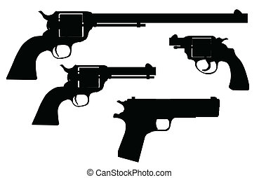A selection of famous hand guns in silhouette over white.