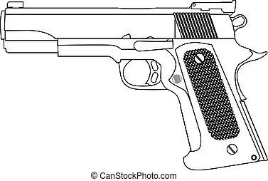 hand gun strokes outline isolated vector