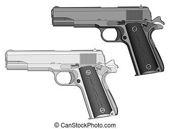 hand gun - handgun, gun, weapon light gray and dark gray...