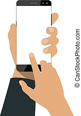 hand, hält, a, smartphone