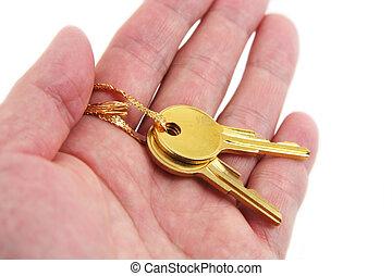 hand, hålla, gyllene, nyckel