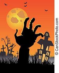 hand, halloween, kyrkogård, måne, gravar, bakgrund, slagträ