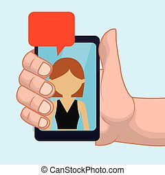 hand, halten, smartphone, m�dchen, blase, vortrag halten , plaudern