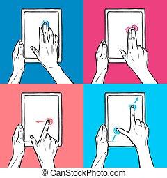 hand, halten, tablette