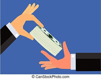 Hand handing a bundle of cash - An illustration of a a hand...