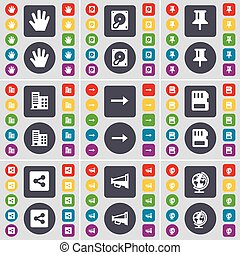 Hand, Hard drive, Pin, Building, Arrow right, SIM card, Share, Megaphone, Globe icon symbol. A large set of flat, colored buttons for your design. Vector