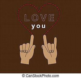 Hand heart love