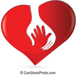 Hand heart protection symbol logo