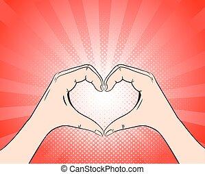 Hand heart retro style pop art