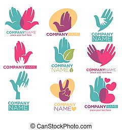 Hand heart vector icons for charity ot donation company