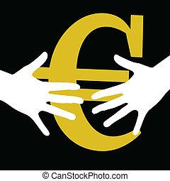 hand held euro on black background art vector
