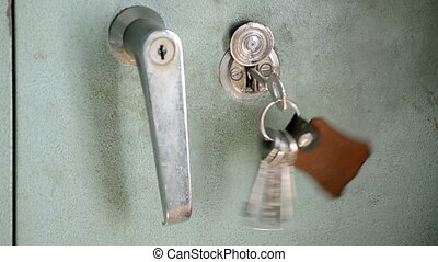 Hand-Held Luggage Locker With Key Hanging