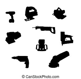 hand-held power tool silhouettes - collection of hand-held...