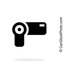 hand-held, simple, fondo., cámara, blanco, icono