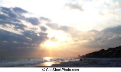 Hand Held Sunset Beach Shot One