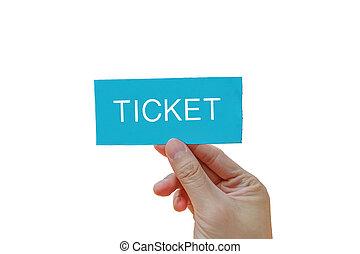Hand helds blue ticket