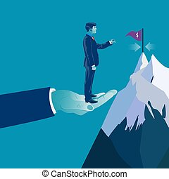 Hand helping businessman to reach his target. Business concept vector illustration