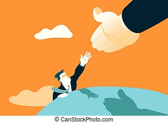 Hand helps to climb to the top. Achieving success