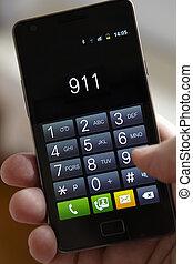 hand, het draaien, 911, op, mobiele telefoon