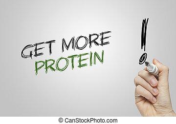 hand het schrijven, krijgen, meer, proteïne