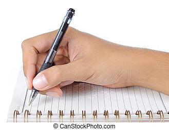 hand het schrijven, op, een, aantekenboekje