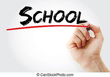 hand het schrijven, school, met, teken