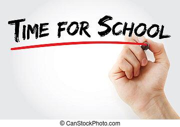 hand het schrijven, tijdstip voor de school