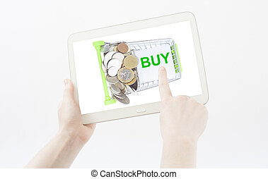 hand, het tonen, boodschappenwagentje, te kopen, lijst, op, een, pc, tablet, vrijstaand