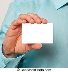 hand, het tonen, een, leeg visitekaartje