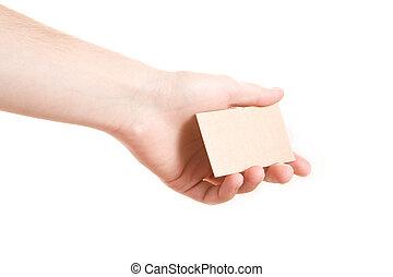 hand, het tonen, leeg visitekaartje