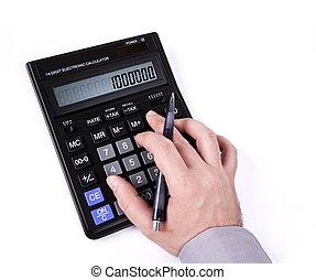 hand, het typen, op, een, rekenmachine
