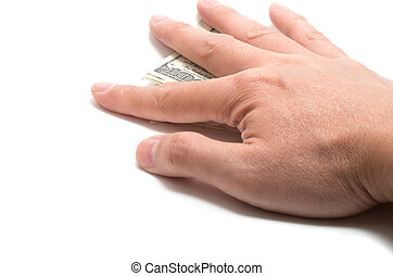 Hand hiding the stash of American banknotes