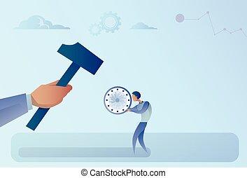 Hand Hitting Businessman Holding Clock With Hammer Flat...