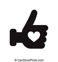 hand, hjärta, svart, ikon, vit, lägenhet